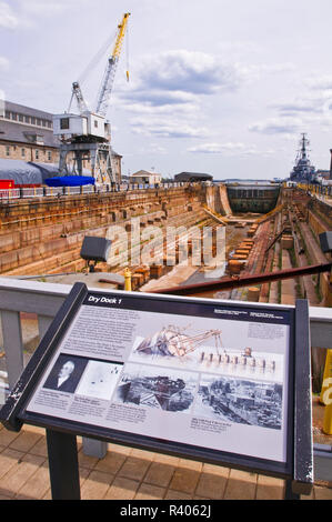 Dry dock at the USS Constitution Museum on the Freedom Trail, Charlestown Navy Yard, Boston, Massachusetts, USA - Stock Photo