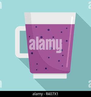 Blueberry smoothie icon. Flat illustration of blueberry smoothie vector icon for web design - Stock Photo