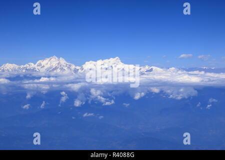 View of Himalaya Mountain Range from airplane - Stock Photo