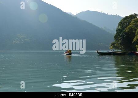 Beautiful landscape of Phewa Lake in Pokhara in Nepal - Stock Photo