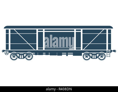 Covered Railway freight car - Vector illustration - Stock Photo