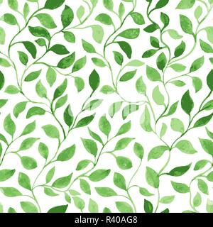 Vector Seamless Pattern. Green Leaves classic foliage. Watercolor Hand Drawn Gift Wrapping or Scrapbook. Fabric textile and Surface Design. Spring motif - Stock Photo