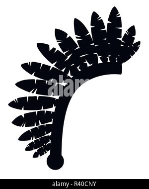 Black silhouette. Indian headdress. Warbonnet icon. Headdress with feathers. Flat vector illustration isolated on white background. - Stock Photo