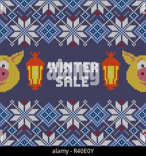 Winter Sale. Seamless woolen knitted Christmas pattern with yellow pigs and burning lanterns - Stock Photo