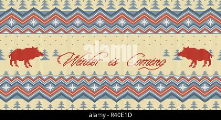 Winter is Coming. Christmas Winter knitted woolen seamless pattern with wild boars in the spruce forest - Stock Photo