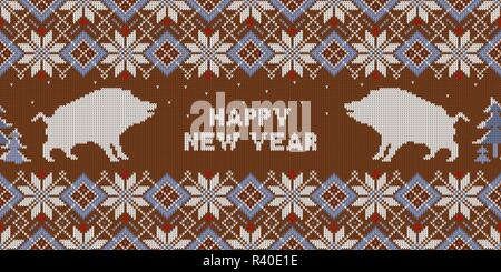 Christmas knitted pattern with wild boars and fir trees. Happy New Year - Year of the Earth pig - Stock Photo