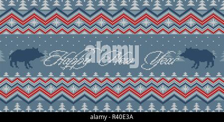 Happy New Year. Year of the Pig. Winter night - Christmas knitted woolen seamless pattern with wild boars in the spruce forest - Stock Photo