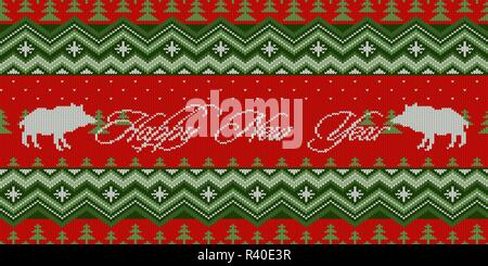 Happy New Year. Year of the Pig. Bright Christmas pattern - Christmas knitted woolen seamless pattern with wild boars in the spruce forest - Stock Photo