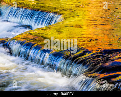 Ottawa National Forest, smooth water reflecting fall foliage, Middle Branch of Ontonagon River - Stock Photo