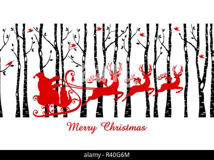 Santa in birch tree forest, vector - Stock Photo