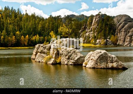 Early autumn, Sylvan Lake, Custer State Park, Black Hills National Forest, South Dakota, USA - Stock Photo