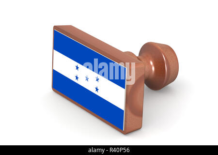 Wooden stamp with Honduras flag - Stock Photo