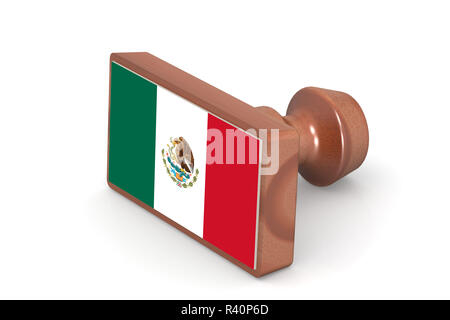 Wooden stamp with Mexico flag - Stock Photo