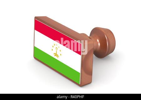 Wooden stamp with Tajikistan flag - Stock Photo