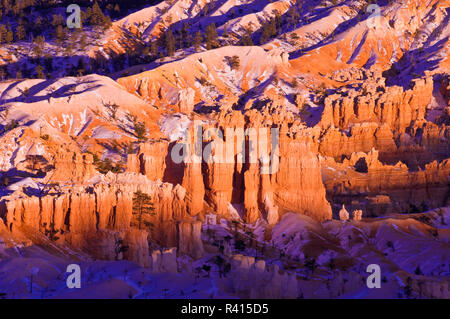 Evening light on snow-dusted rock formations below Bryce Point, Bryce Canyon National Park, Utah, USA - Stock Photo
