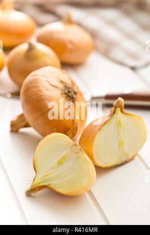 halved fresh onion on kitchen table - Stock Photo