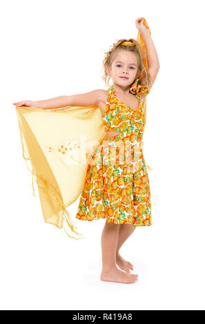Little Girl in a Yellow Dress with Shawl Posing - Stock Photo