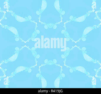 Modern abstract geometric background, seamless floral pattern light blue and turquoise, delicate and gauzy - Stock Photo