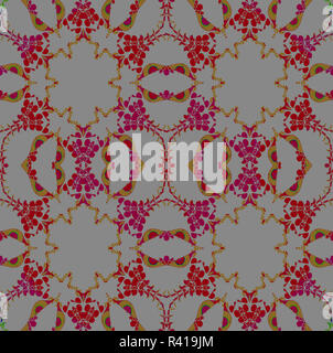 Abstract geometric background, seamless hexagon pattern, ornaments red violet on gray, ornate and extensive - Stock Photo