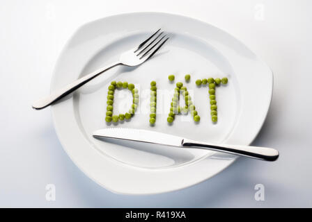 peas forming the word diet on a plate - Stock Photo