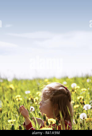 a little girl sitting in a meadow and blowing on a dandelion - part 2 - Stock Photo