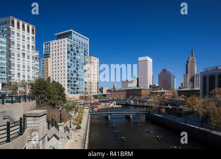 USA, Rhode Island, Providence, city skyline from Waterplace Park - Stock Photo