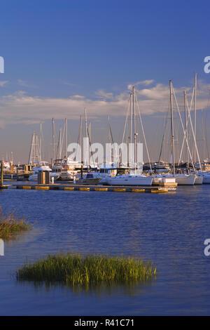USA, South Carolina, Mt. Pleasant. Boats in harbor. - Stock Photo