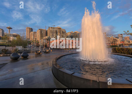 Water Fountain at the Olympic Sculpture Park in Seattle, Washington State, USA - Stock Photo