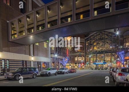 Looking down Post and Main Streets at dusk in downtown Spokane, Washington, USA - Stock Photo