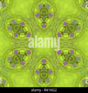 Abstract geometric background, seamless floral ellipse pattern in bright green shades with purple square elements - Stock Photo