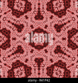 Abstract geometric background, seamless hexagon and circles pattern in pink and red brown shades, ornate and extensive - Stock Photo