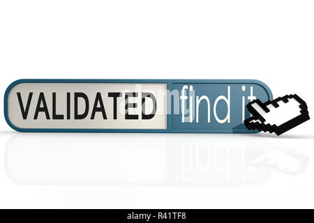 Validated word on the blue find it banner - Stock Photo