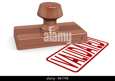 Wooden stamp validated with red text - Stock Photo