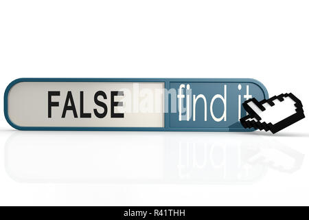 False word on the blue find it banner - Stock Photo