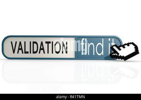 Validation word on the blue find it banner - Stock Photo