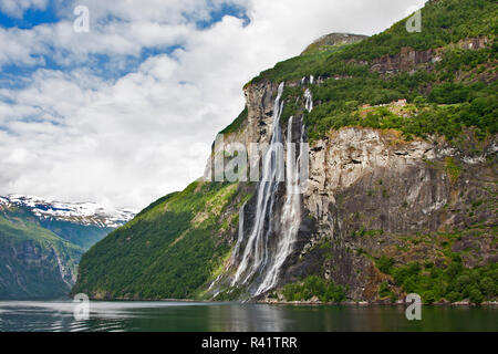 Gerainger Fjord, Norway, Seven Sisters Falls, waterfalls, - Stock Photo