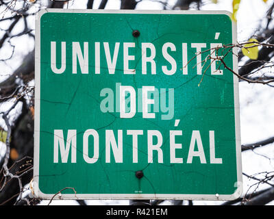 MONTREAL, CANADA - NOVEMBER 3, 2018: Roadsign indicating the near presence of the University of Montreal (Universite de Montreal), it is one of the ma - Stock Photo