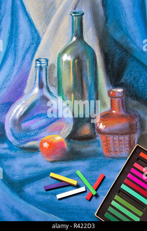 Artists pastels and original pastel drawing of still life. - Stock Photo