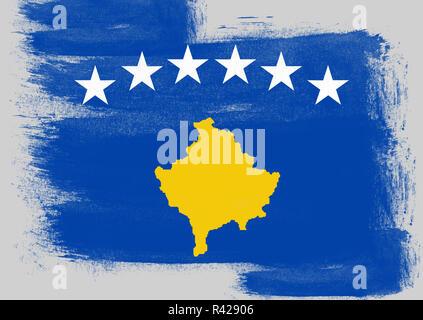 Flag of Kosovo painted with brush - Stock Photo