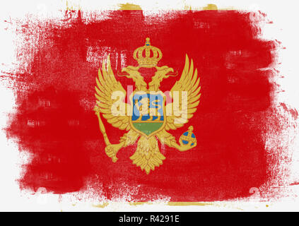 Flag of Montenegro painted with brush - Stock Photo