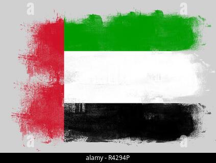 Flag of United Arab Emirates painted with brush - Stock Photo