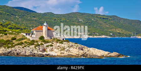 Island of Vis lighthouse panoramic - Stock Photo