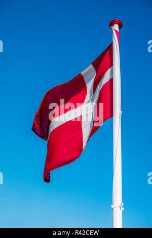 Denmark flag on a pole - Stock Photo