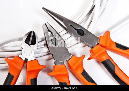 Metal pliers isolated on white background, work tool for engineer - Stock Photo