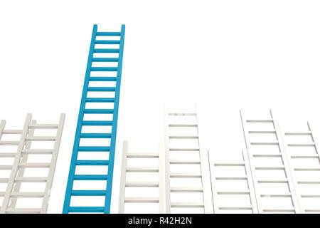 Blue ladder among white - Stock Photo