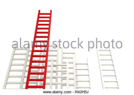 Red ladder among white - Stock Photo