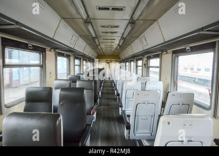 Interior of the Trans-Siberian Express train, connecting Moscow with the Russian Far East, ending in Vladivostok - Stock Photo