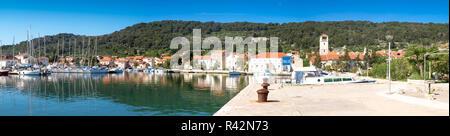 Panorama of Veli Iz on the island of Iz in Croatia. - Stock Photo