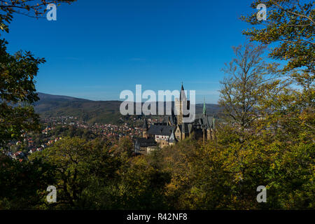 Palais Wernigerode with blue sky - Stock Photo