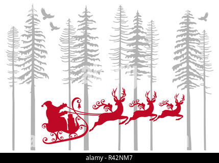 Santa Claus with his reindeer in fir forest, vector - Stock Photo